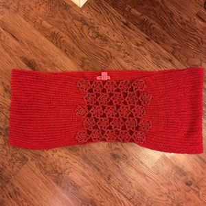 Betsy Johnson Red Circle Knit Scarf